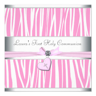 Pink Cross First Communion Custom Announcement Cards