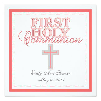 Pink Cross First Holy Communion Invitation