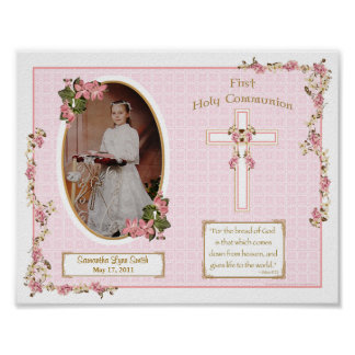 Pink Cross First Holy Communion Personalized 11x14 Poster