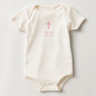 Pink Cross  |  Girl Christening Baby Bodysuit