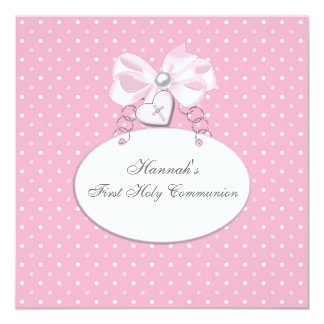 Pink Cross Girls First Communion 5.25x5.25 Square Paper Invitation Card