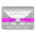 Pink Cross Girls Pink First Communion Personalized Invitations