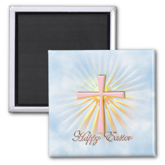 Pink Cross on Clouds with Happy Easter Text 2 Inch Square Magnet