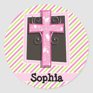 Pink Cross on Pink & Lime Green Stripes Classic Round Sticker