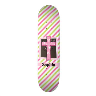 Pink Cross on Pink & Lime Green Stripes Skate Decks