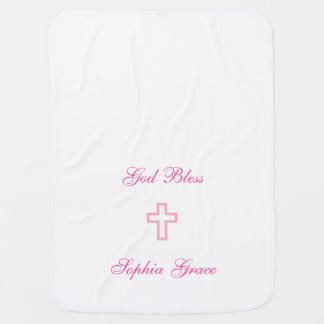 Pink Cross Personalized Baby Blanket