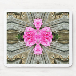 Pink Cross Shaped Rose Abstract Woodsy Background Mouse Pad