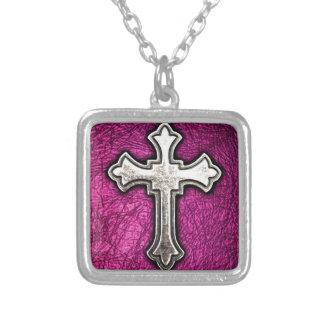 Pink Cross Square Pendant Necklace