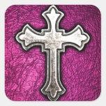 Pink Cross Square Sticker
