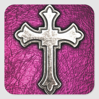 Pink Cross Square Stickers