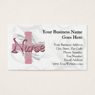 Pink Cross/Swirl Nurse Business Card