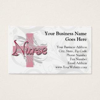Pink Cross/Swirl Nurse Business Card