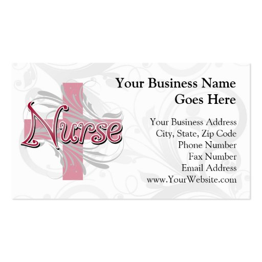 Pink cross swirl nurse double sided standard business for Nurse business cards