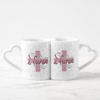 Pink Cross/Swirl Nurse Coffee Mug Set