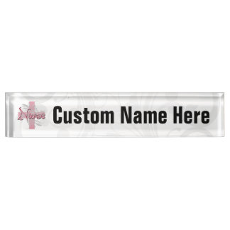 Pink Cross/Swirl Nurse Desk Name Plates