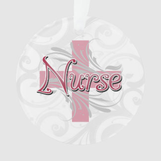 Pink Cross/Swirl Nurse Ornament