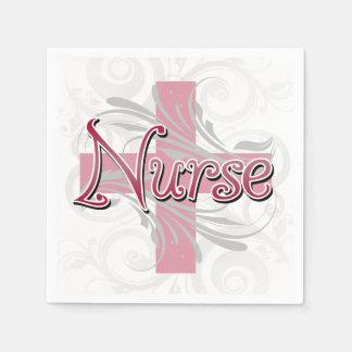 Pink Cross/Swirl Nurse Paper Napkin