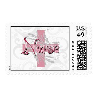 Pink Cross/Swirl Nurse Postage Stamp