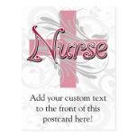 Pink Cross/Swirl Nurse Postcard