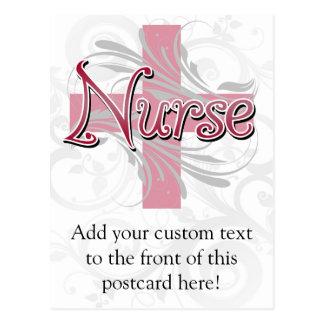 Pink Cross/Swirl Nurse Post Card