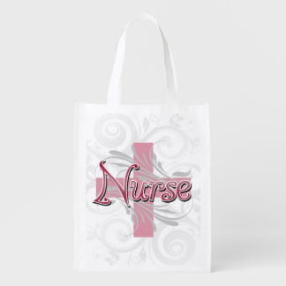 Pink Cross/Swirl Nurse Reusable Grocery Bag