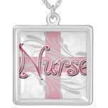 Pink Cross/Swirl Nurse Square Pendant Necklace