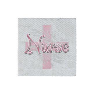 Pink Cross/Swirl Nurse Stone Magnet