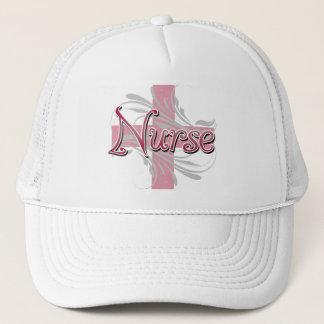Pink Cross/Swirl Nurse Trucker Hat