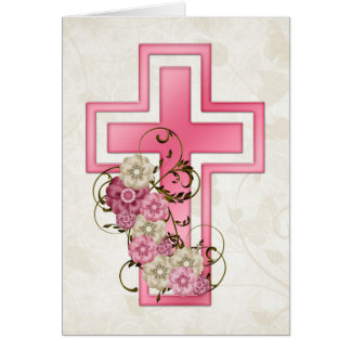Pink Cross w Flowers 2 Christian Greeting Card