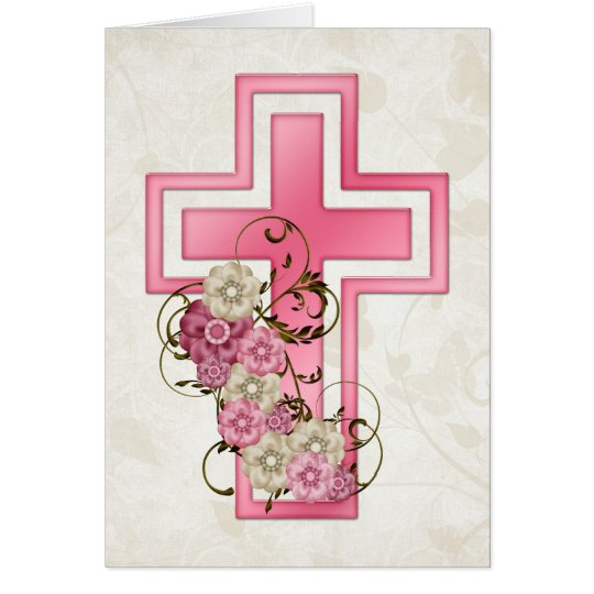 Pink Cross w Flowers 2 Christian Greeting Card