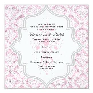 Pink Cross white damask burlap First Communion 5.25x5.25 Square Paper Invitation Card