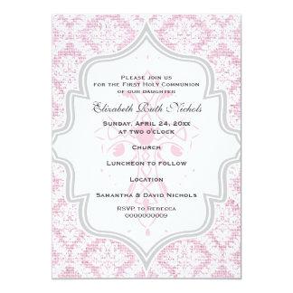 "Pink Cross white damask burlap First Communion 5"" X 7"" Invitation Card"