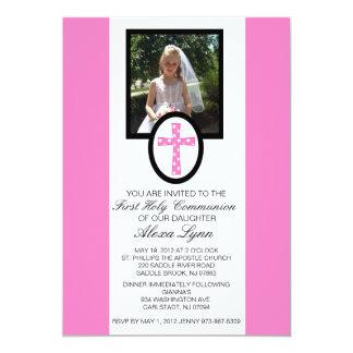 "Pink Cross with Photo Communion Invitation 5"" X 7"" Invitation Card"