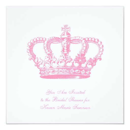 "Pink Crown 5.25"" Square Invitation Card"