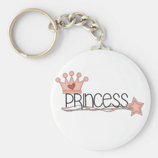 Pink Crown and Wand Princess Basic Round Button Keychain