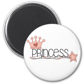 Pink Crown and Wand Princess Magnet