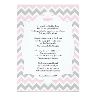 Amazing Pink Crown Baby Shower Thank You Note With Poem Card