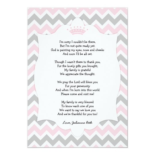 Beautiful Pink Crown Baby Shower Thank You Note With Poem Card