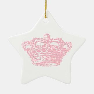 Pink Crown Ceramic Ornament