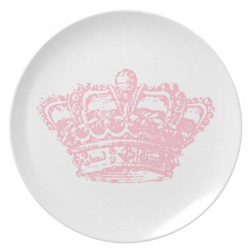 Pink Crown Dinner Plates