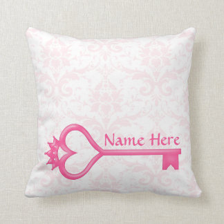Pink Crown Heart Key Throw Pillow