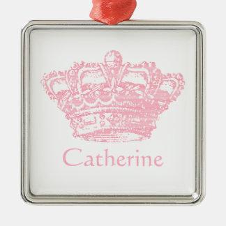 Pink Crown Metal Ornament