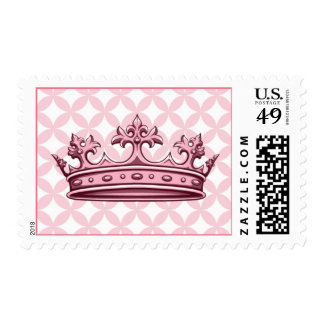 Pink Crown Princess Birthday Party Postage Stamp