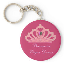 Pink Crown Tiara Organ Donor Keychain