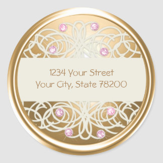 Pink Crystal and Gold Damask Return Address Seal