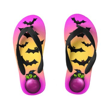 Halloween Themed Pink Crystal Ball Witch and Bats Kid's Flip Flops