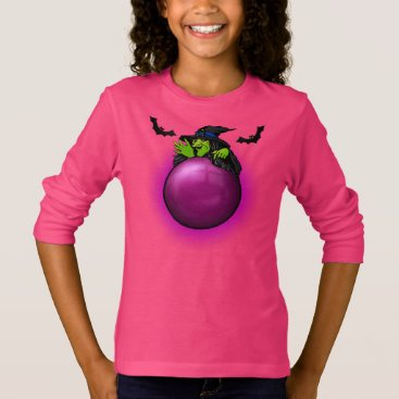 Halloween Themed Pink Crystal Ball Witch and Bats T-Shirt