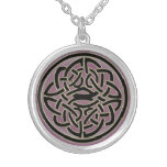 Pink Crystal Celtic Knot Silver Plated Necklace