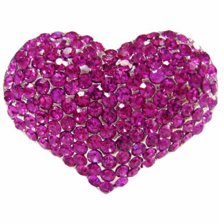 Pink Crystal Heart 2 Pin Photo Cut Out