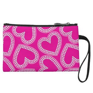 Pink crystal sequin hearts wristlet wallet